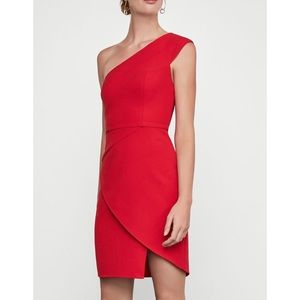 Single shoulder cocktail dress red